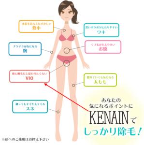 ケナイン除毛スプレーを使用出来る部位の図解